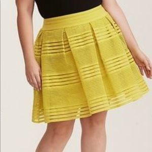 Torrid Chartreuse Striped Sheer Aline Skirt